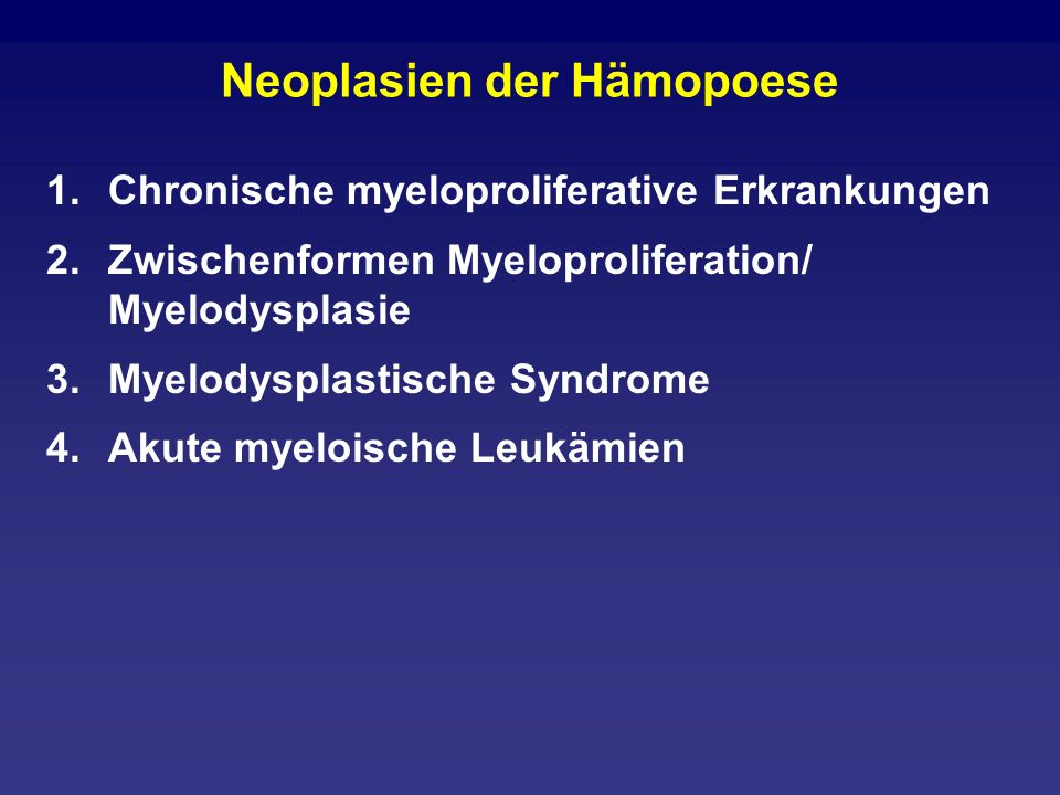 Neoplasien der Hämopoese