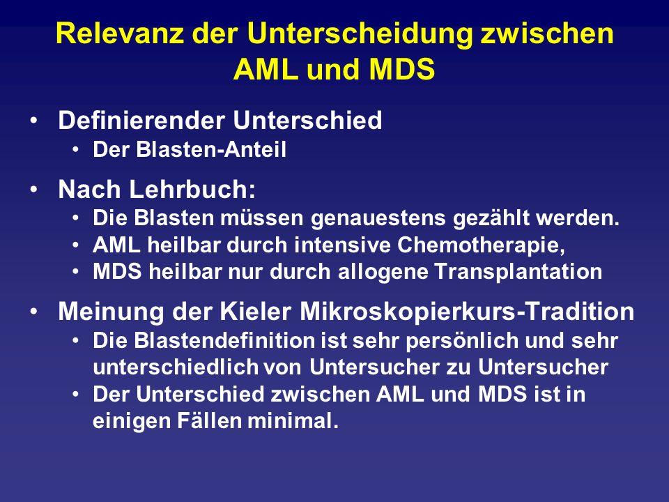 Relevanz der Unterscheidung zwischen AML und MDS