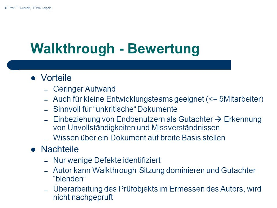 Walkthrough - Bewertung
