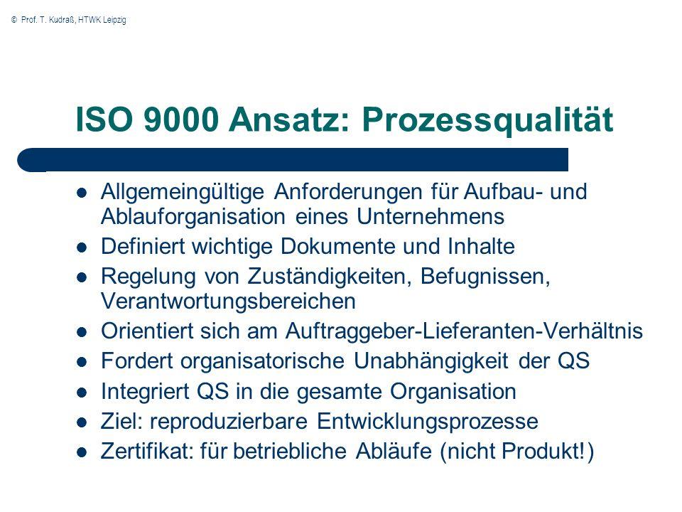 ISO 9000 Ansatz: Prozessqualität