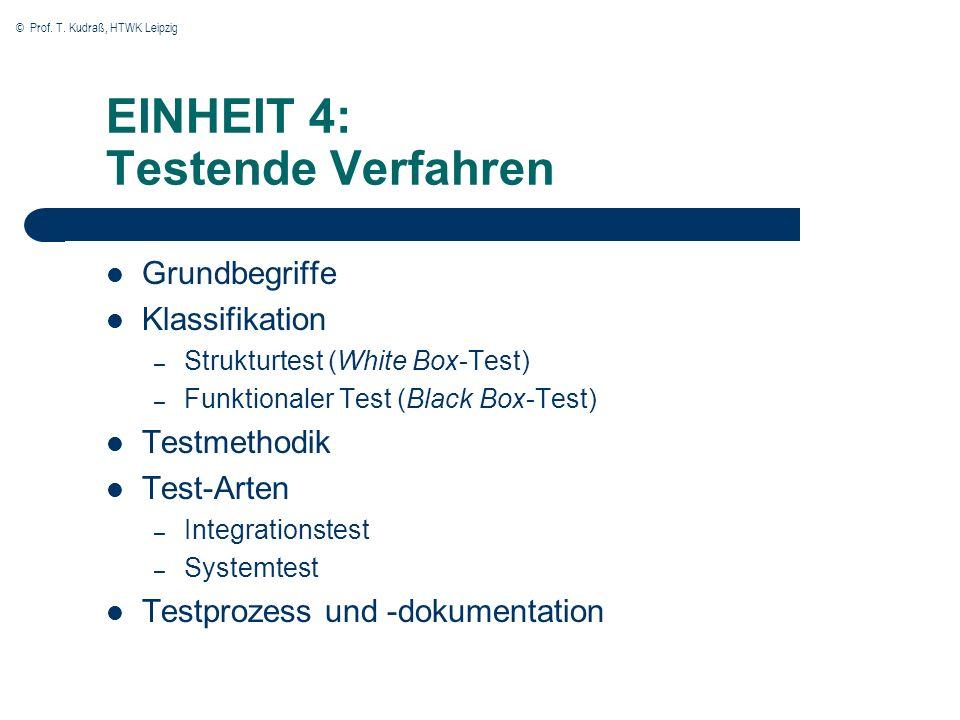 EINHEIT 4: Testende Verfahren