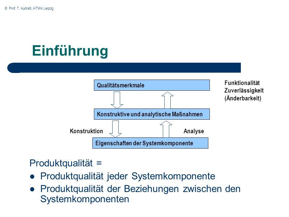 Einführung Produktqualität = Produktqualität jeder Systemkomponente