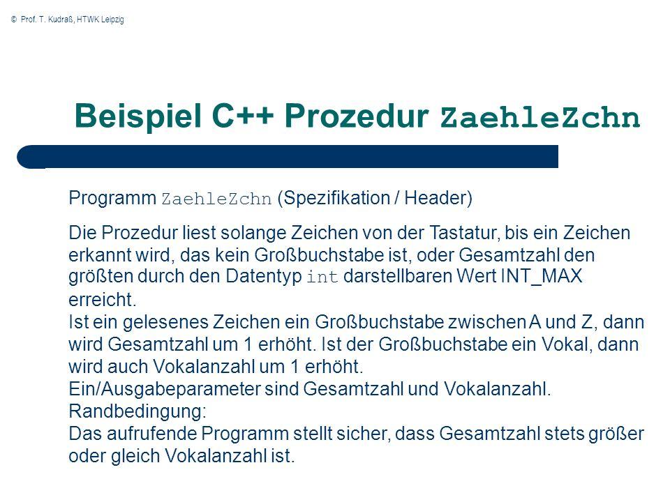 Beispiel C++ Prozedur ZaehleZchn