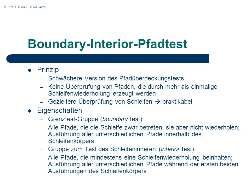 Boundary-Interior-Pfadtest