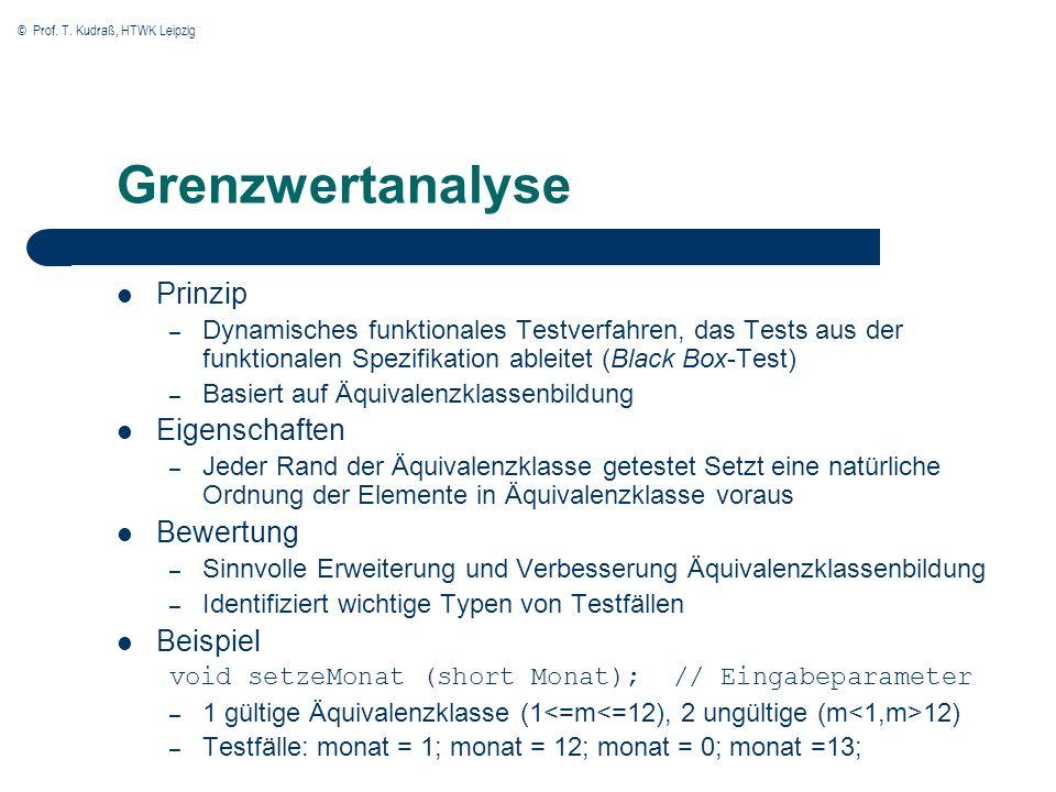 Grenzwertanalyse Prinzip Eigenschaften Bewertung Beispiel