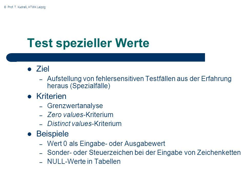 Test spezieller Werte Ziel Kriterien Beispiele