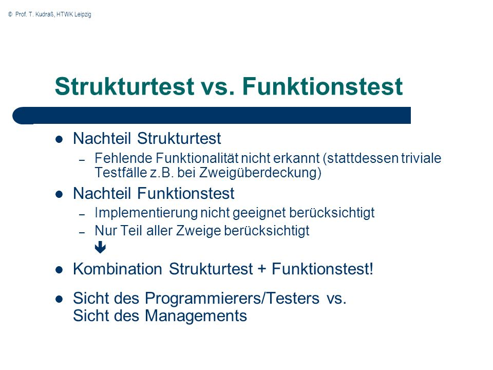 Strukturtest vs. Funktionstest