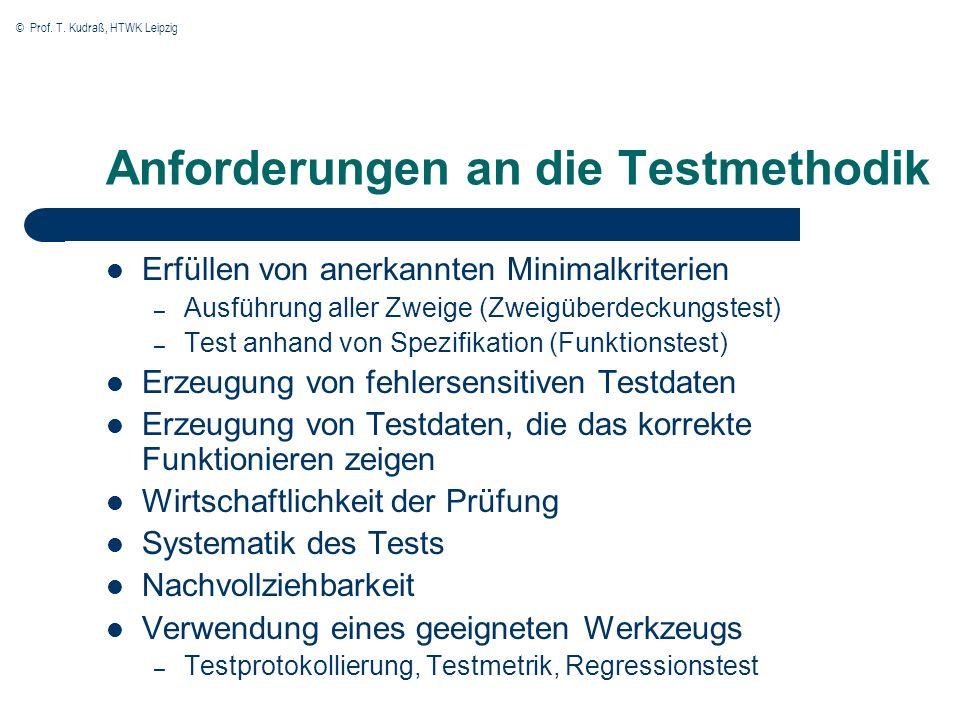 Anforderungen an die Testmethodik