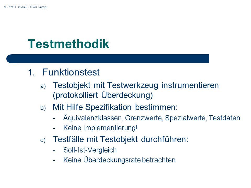 Testmethodik Funktionstest