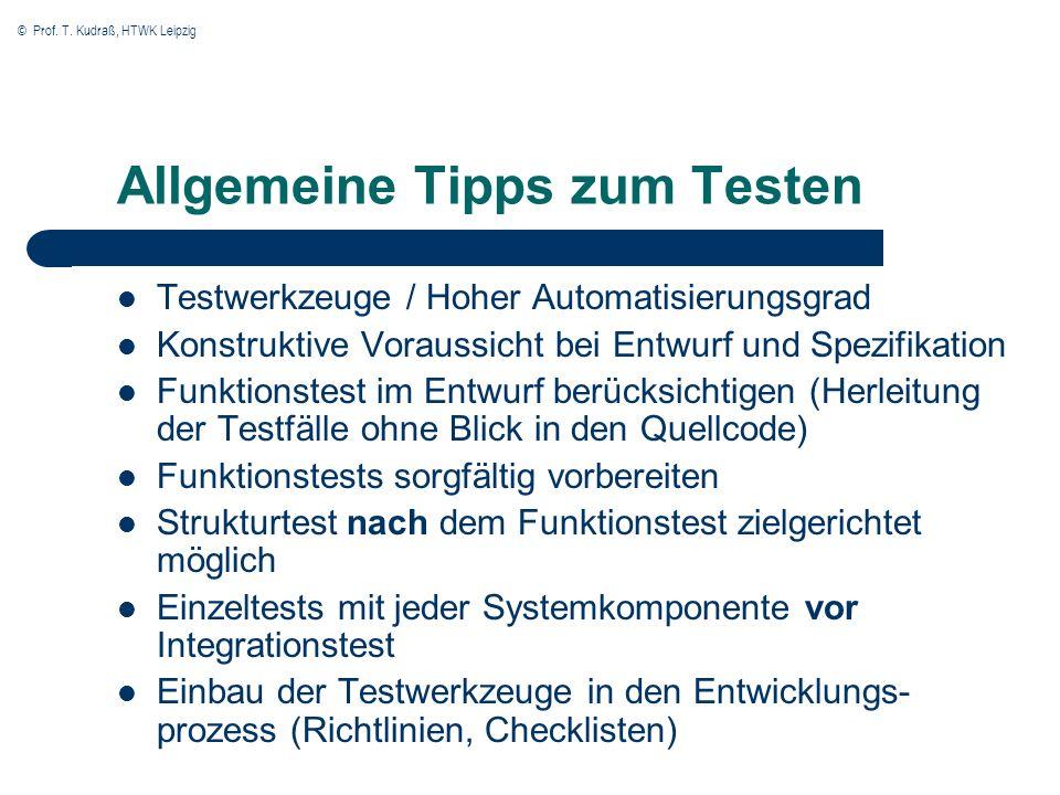 Allgemeine Tipps zum Testen