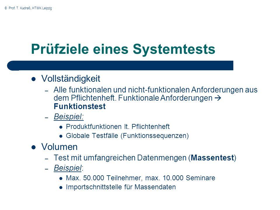Prüfziele eines Systemtests