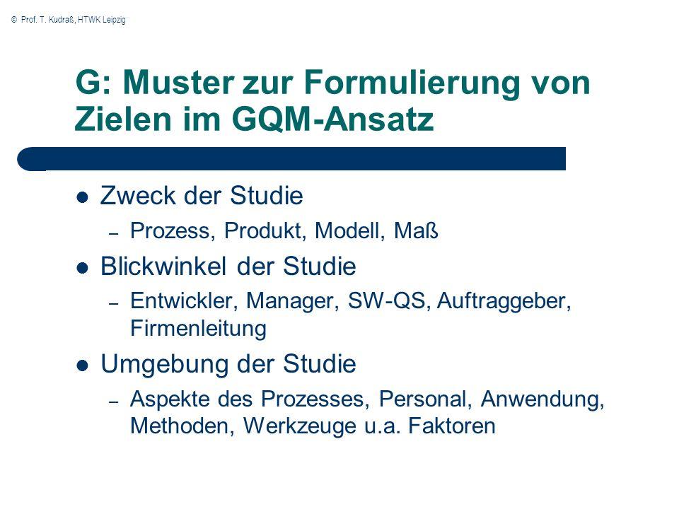 G: Muster zur Formulierung von Zielen im GQM-Ansatz