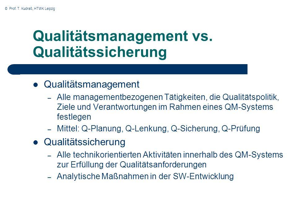 Qualitätsmanagement vs. Qualitätssicherung