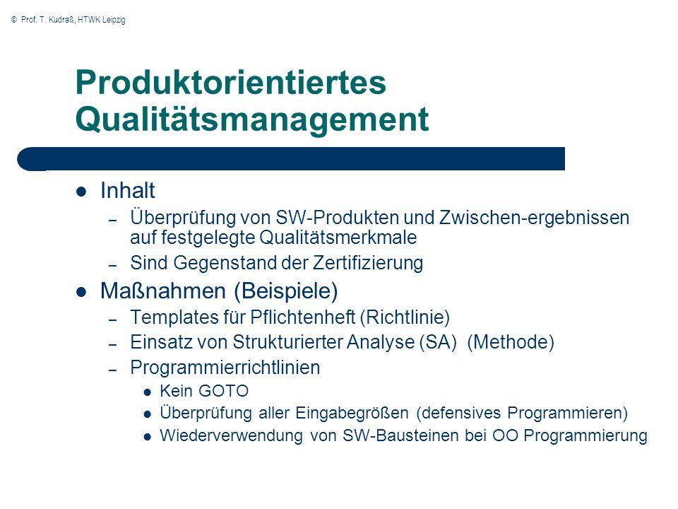 Produktorientiertes Qualitätsmanagement