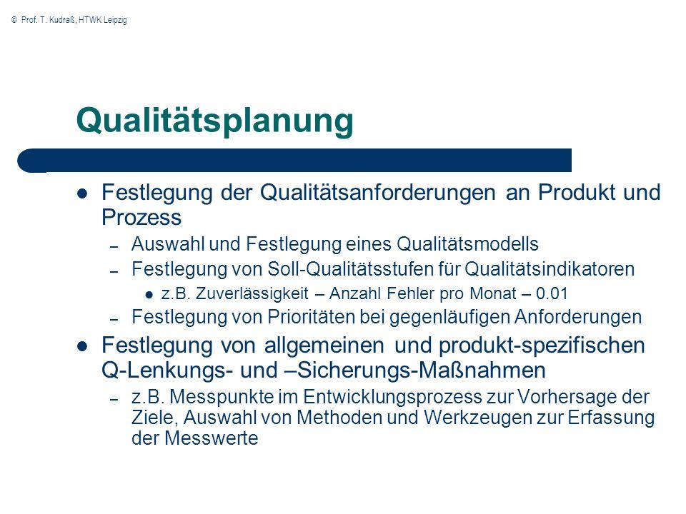 Qualitätsplanung Festlegung der Qualitätsanforderungen an Produkt und Prozess. Auswahl und Festlegung eines Qualitätsmodells.