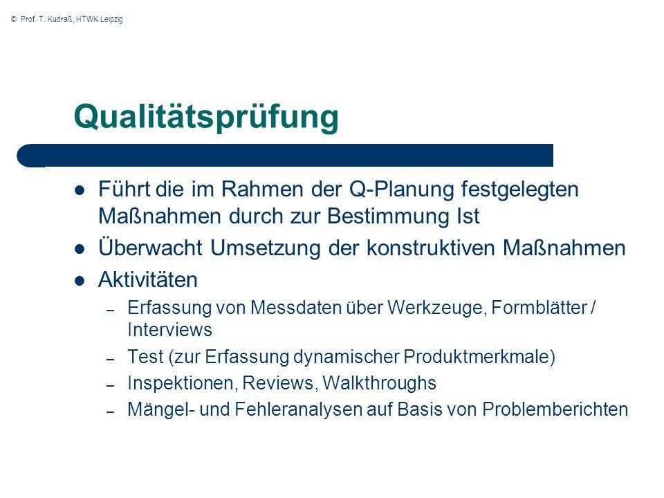 QualitätsprüfungFührt die im Rahmen der Q-Planung festgelegten Maßnahmen durch zur Bestimmung Ist. Überwacht Umsetzung der konstruktiven Maßnahmen.
