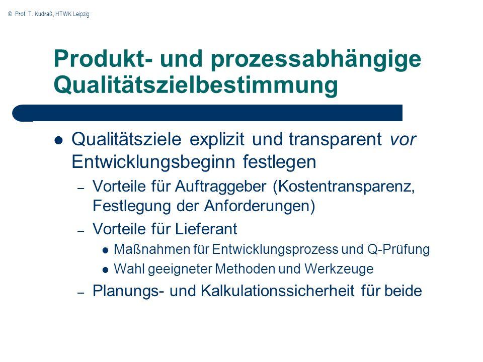 Produkt- und prozessabhängige Qualitätszielbestimmung