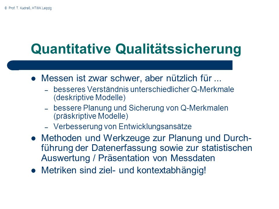 Quantitative Qualitätssicherung