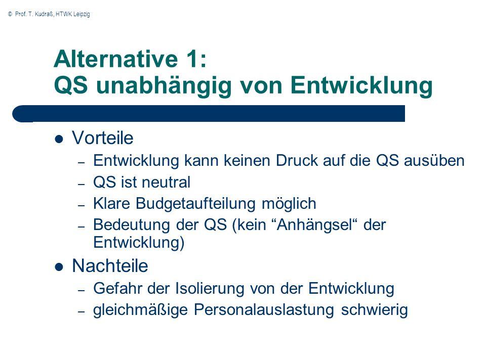 Alternative 1: QS unabhängig von Entwicklung
