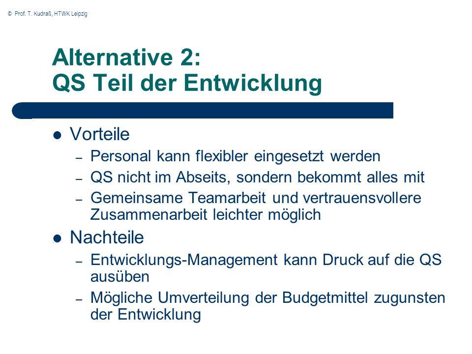 Alternative 2: QS Teil der Entwicklung