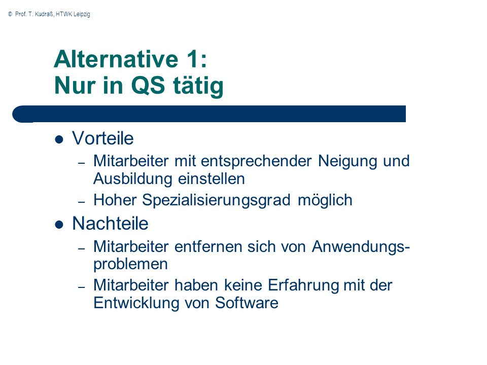 Alternative 1: Nur in QS tätig