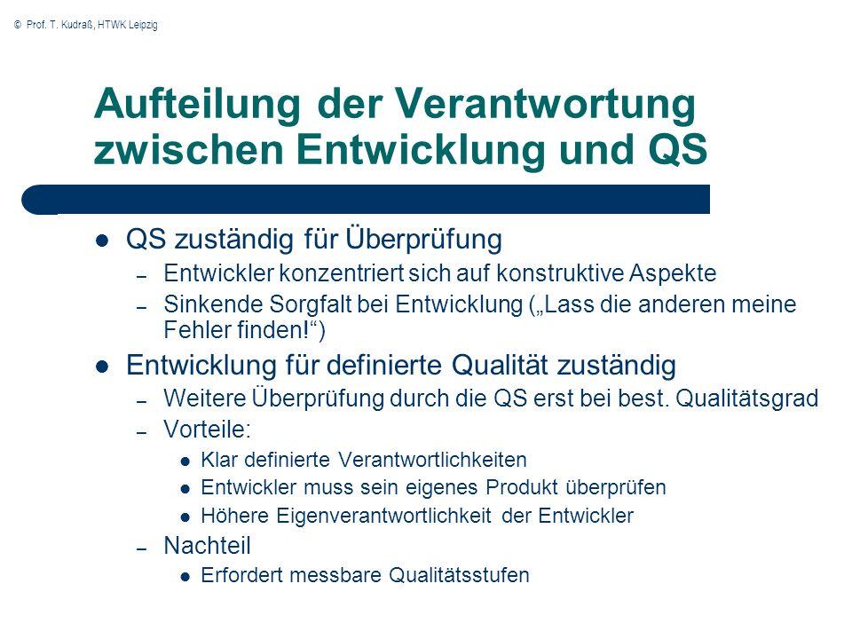 Aufteilung der Verantwortung zwischen Entwicklung und QS