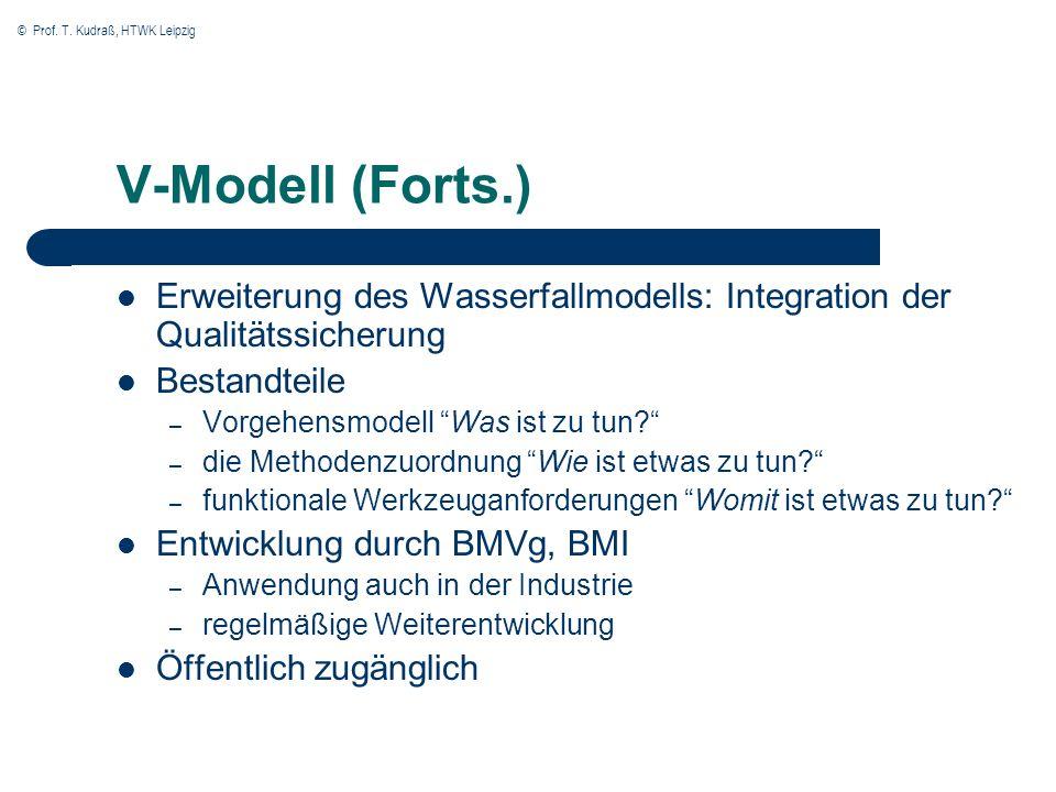 V-Modell (Forts.)Erweiterung des Wasserfallmodells: Integration der Qualitätssicherung. Bestandteile.