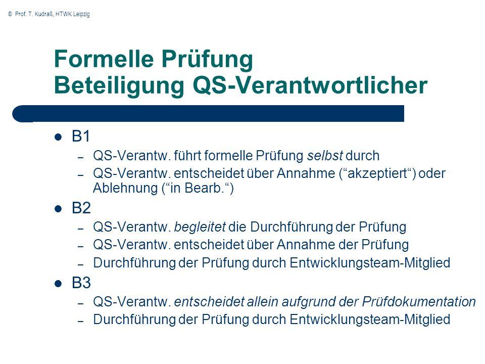 Formelle Prüfung Beteiligung QS-Verantwortlicher