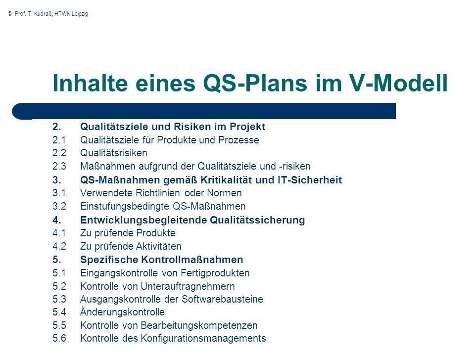 Inhalte eines QS-Plans im V-Modell