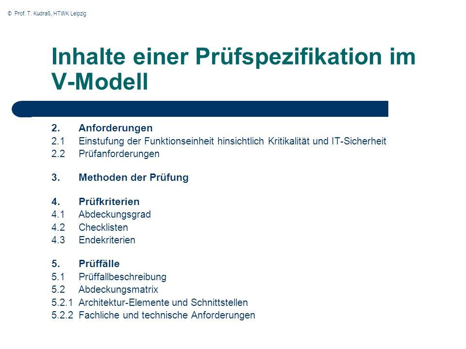 Inhalte einer Prüfspezifikation im V-Modell