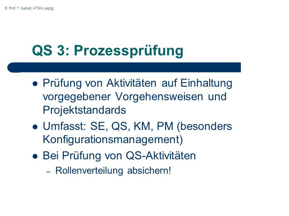 QS 3: ProzessprüfungPrüfung von Aktivitäten auf Einhaltung vorgegebener Vorgehensweisen und Projektstandards.