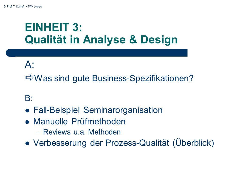 EINHEIT 3: Qualität in Analyse & Design