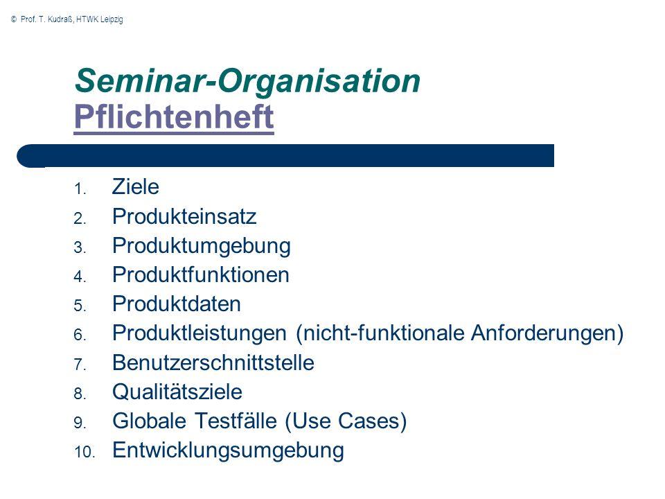 Seminar-Organisation Pflichtenheft