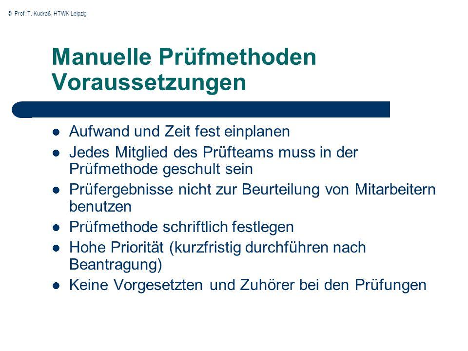 Manuelle Prüfmethoden Voraussetzungen