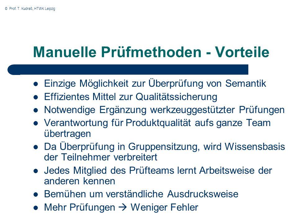 Manuelle Prüfmethoden - Vorteile