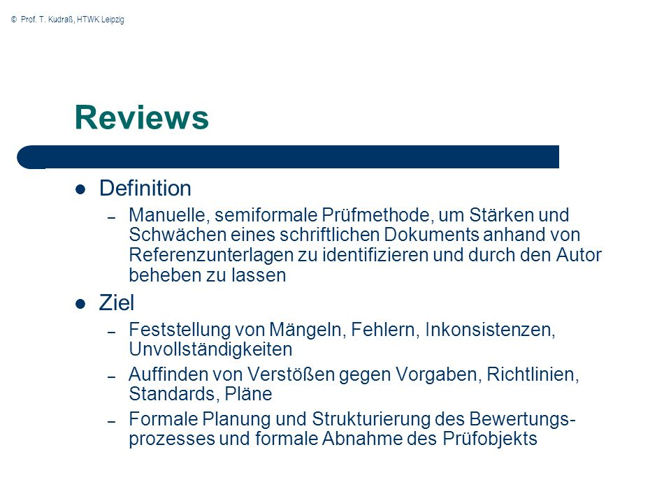 Reviews Definition Ziel