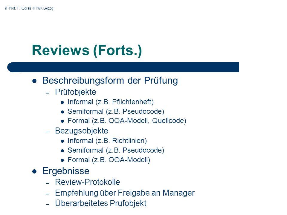 Reviews (Forts.) Beschreibungsform der Prüfung Ergebnisse Prüfobjekte