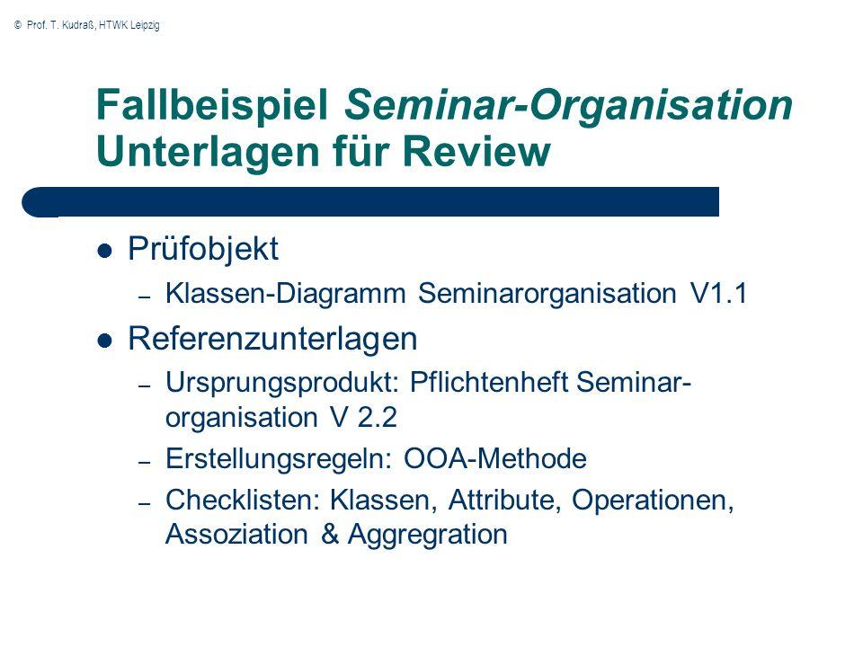 Fallbeispiel Seminar-Organisation Unterlagen für Review