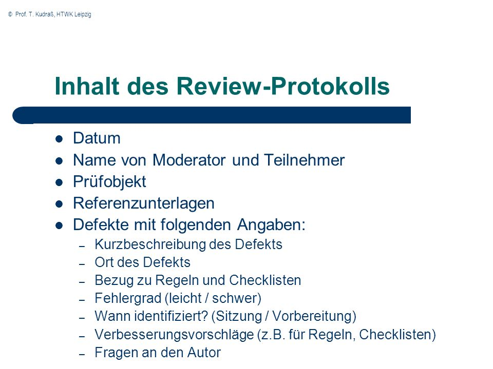 Inhalt des Review-Protokolls