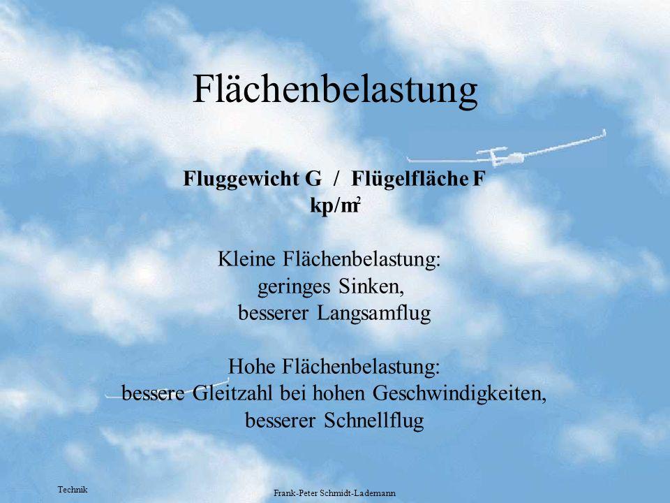 Flächenbelastung Fluggewicht G / Flügelfläche F kp/m