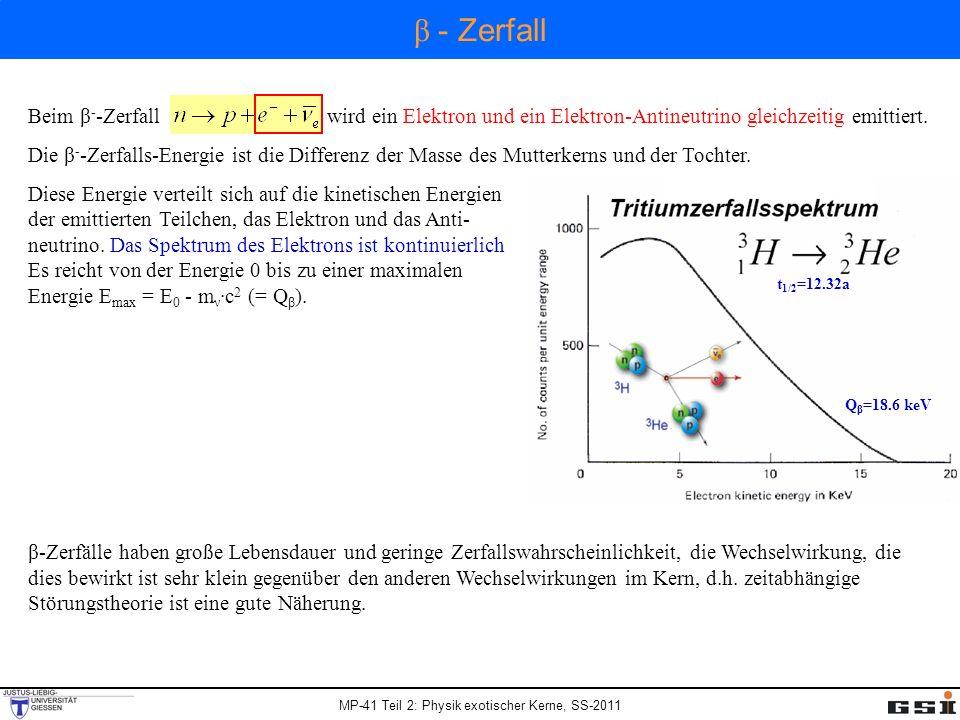 β - Zerfall Beim β--Zerfall wird ein Elektron und ein Elektron-Antineutrino gleichzeitig emittiert.