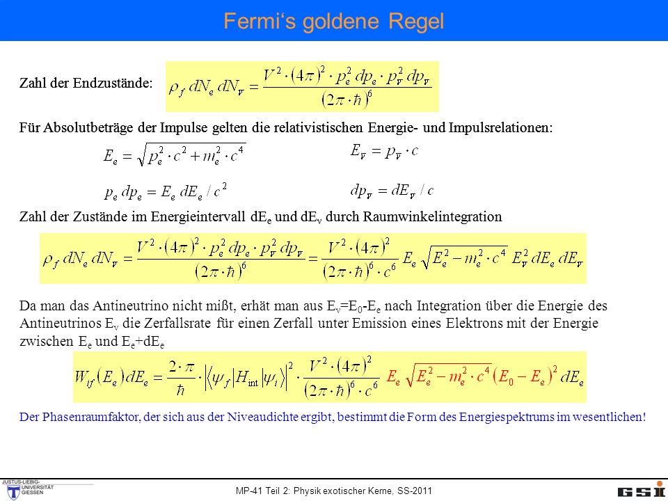 Fermi's goldene Regel Zahl der Endzustände: