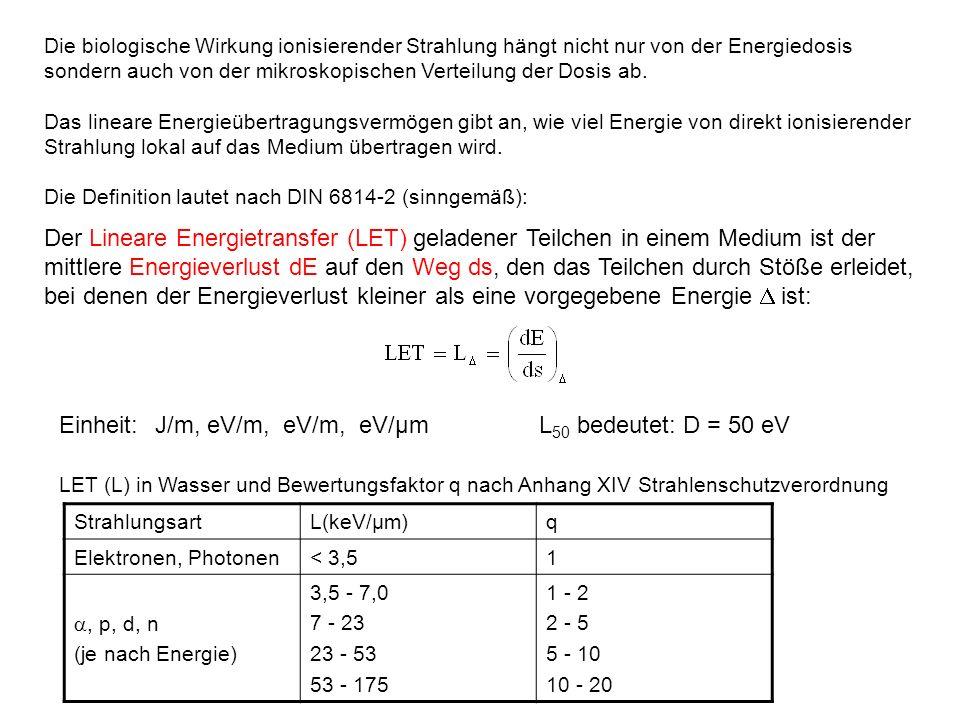 Einheit: J/m, eV/m, eV/m, eV/µm L50 bedeutet: D = 50 eV