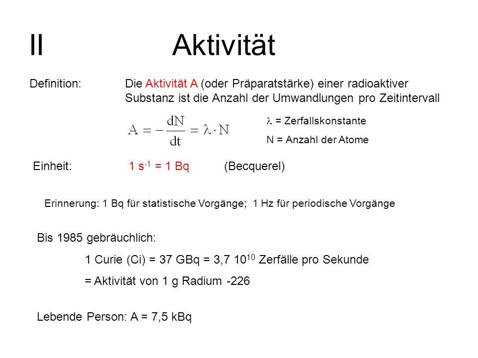 II Aktivität Definition: Die Aktivität A (oder Präparatstärke) einer radioaktiver Substanz ist die Anzahl der Umwandlungen pro Zeitintervall.