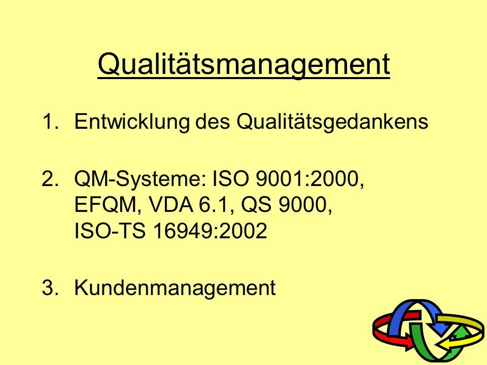 Qualitätsmanagement Entwicklung des Qualitätsgedankens