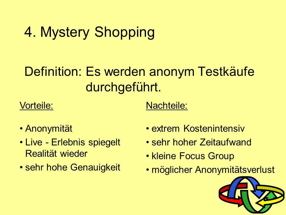 4. Mystery Shopping Definition: Es werden anonym Testkäufe durchgeführt. Vorteile: Anonymität. Live - Erlebnis spiegelt Realität wieder.