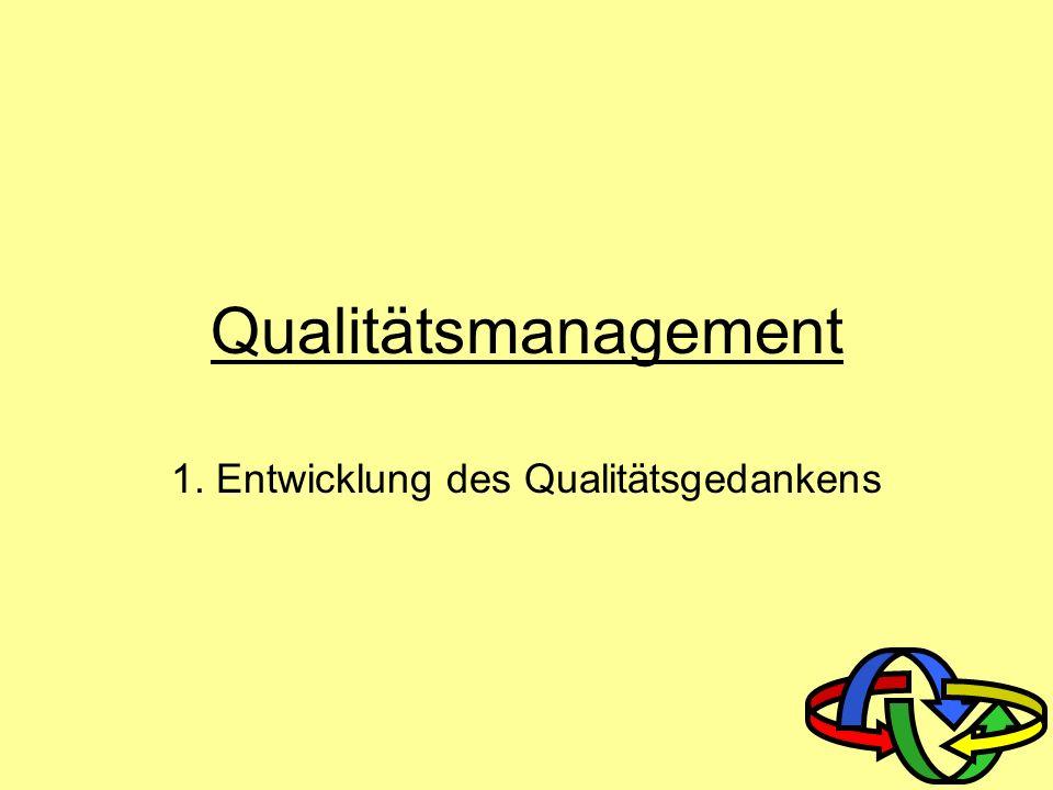 1. Entwicklung des Qualitätsgedankens