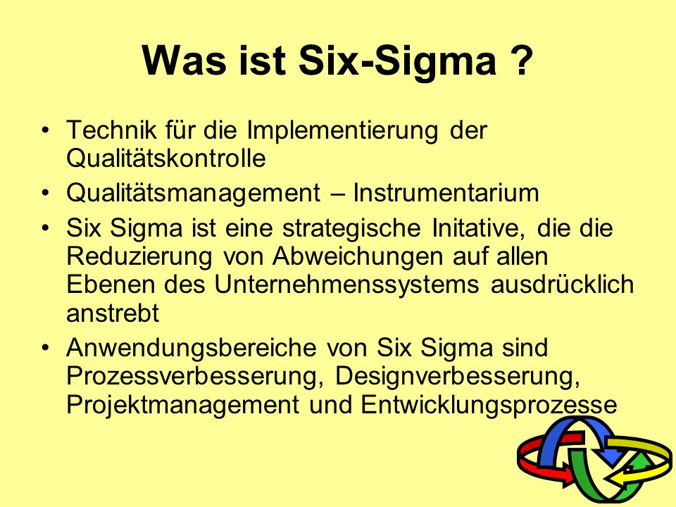 Was ist Six-Sigma Technik für die Implementierung der Qualitätskontrolle. Qualitätsmanagement – Instrumentarium.