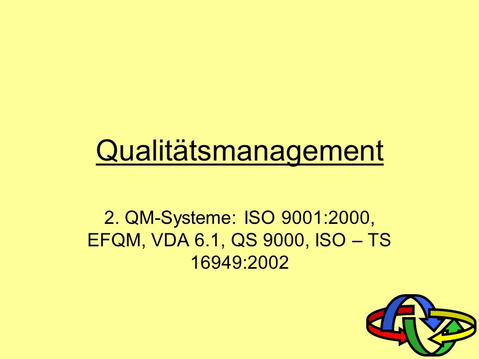Qualitätsmanagement 2. QM-Systeme: ISO 9001:2000, EFQM, VDA 6.1, QS 9000, ISO – TS 16949:2002