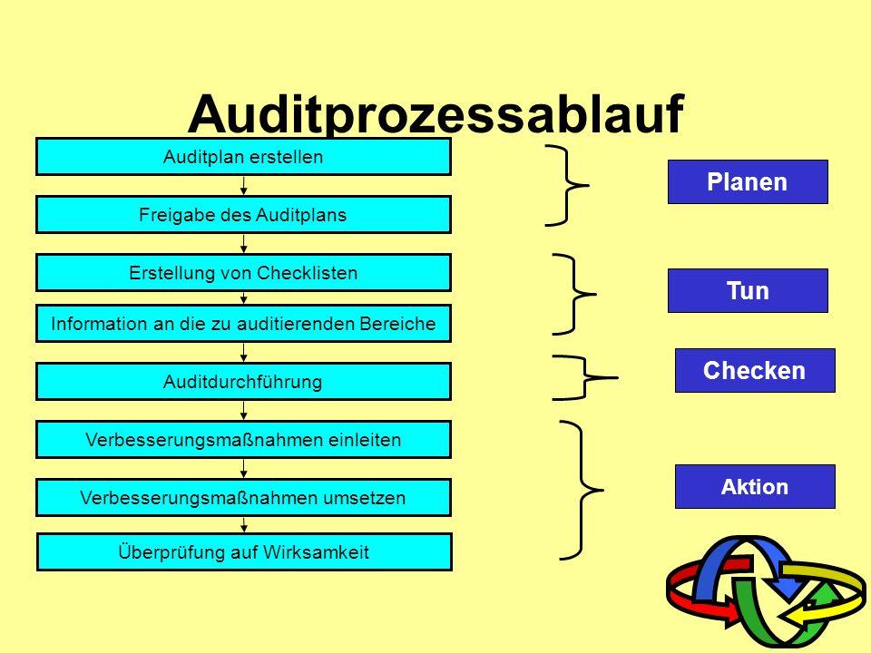 Auditprozessablauf Planen Tun Checken Aktion Auditplan erstellen